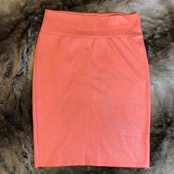 LuLaRoe Dresses & Skirts - LuLaRoe Neon Coral Silver Cassie Skirt